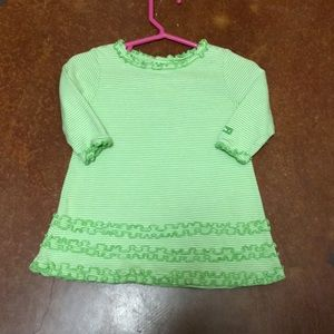 Baby Gap Long Sleeve Lime Striped Ruffle Dress 3-6